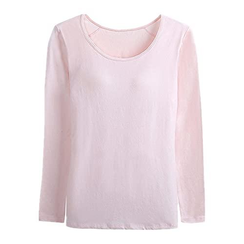 N\P Camiseta de mujer con relleno de sujetador integrado, camiseta de algodón elástica con mangas largas