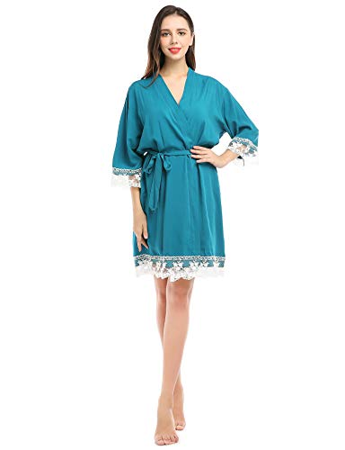 Kimono de algodón para mujer Bata con ribete de encaje Bata