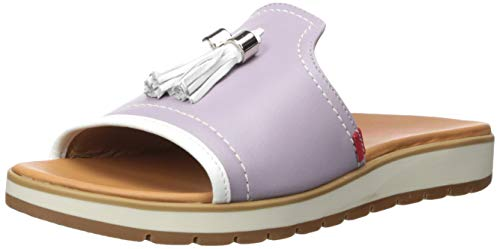 MARC JOSEPH NEW YORK Women's Leather Made in Brazil Tassle Slide Mule, Lavender Nappa, 9 M US