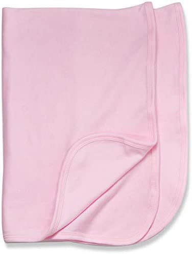 Baby Jay 100% Cotton Receiving Blanket in Blue, Pink or White Boy Girl (Pink)