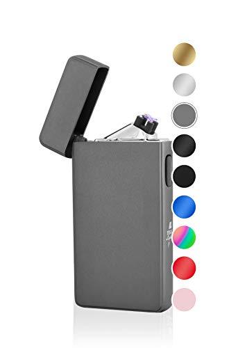 TESLA Lighter TESLA Lighter T13 Lichtbogen Feuerzeug, Plasma Double-Arc, elektronisch wiederaufladbar, aufladbar mit Strom per USB, ohne Gas und Benzin, mit Ladekabel, in edler Geschenkverpackung Schwarz Schwarz