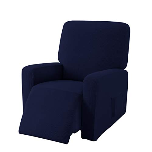 E EBETA Jacquard Sesselbezug, Sesselschoner, Stretchhusse für Relaxsessel Komplett, Elastisch Bezug für Fernsehsessel Liege Sessel (Dunkelblau)