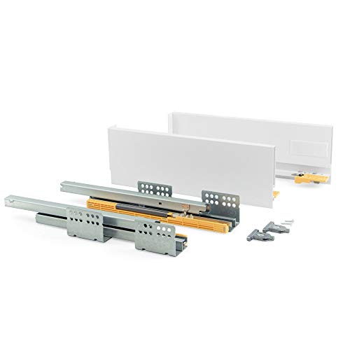 Emuca - Kit de cajón para cocina o baño con guias de extracción total y cierre suave, altura 105mm y profundidad 450mm, Gris antracita