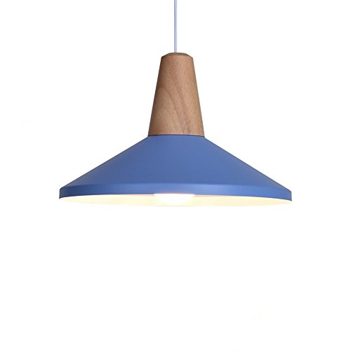BOKT Modern Style 1-Light Adjustable Dome Pendant Lighting with Metal Shade in Matte-Blue Finish-Modern Industrial Edison Style Hanging E26/E27 Bulb Base 60 Watts (B-Blue)