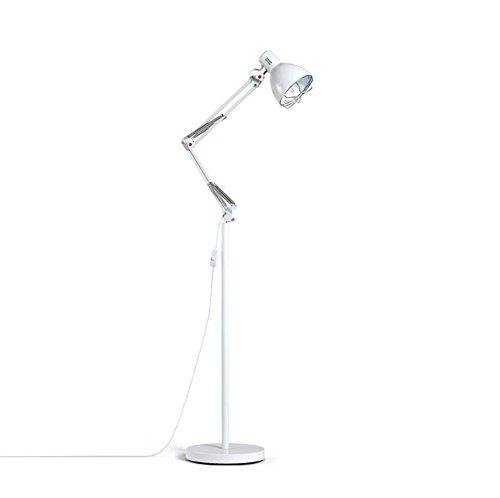Lampadaire Moderne Simplicité Conception Mécanique Vent Réglable Blanc Bras Long En Fer Forgé Debout Lampe De Lecture Lumière Avec Bouton Interrupteur Pour Chambre Salon