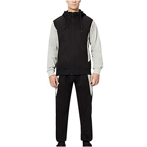 BGUK Chándal para hombre, chándal, chándal deportivo, pantalones de deporte y chaqueta de entrenamiento, ropa deportiva para el otoño e invierno, Negro , XS