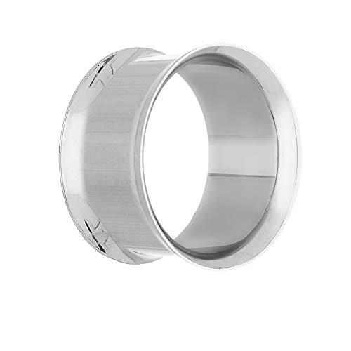 Treuheld® | 6mm Ohr Flesh Tunnel aus Chirurgenstahl in Silber | dünn | Double Flared Ohrtunnel | dünner Rand | hautfreundlich & antiallergen