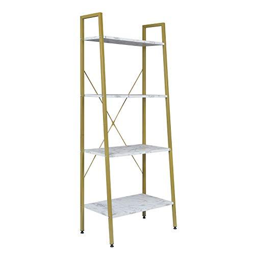 EUGAD 0023ZWJ Standregal Bücherregal Metallregal Leiterregal Stufenregal Multifunktionale Regal Industrie Design MDF Metall 60x35x148cm, Golden+Weißer Marmor