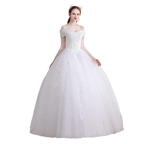 YQ&TL Encaje Cintura Imperio Vestido de Noche Línea A Vestido de Noche Largo para Mujer Largo hasta el Suelo White XXL
