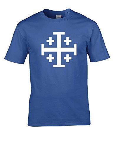 Jerusalem-Kreuz, Fünf Falten Kreuz - Antike Historische Symbol Herren T-Shirt Gr. XXL, königsblau