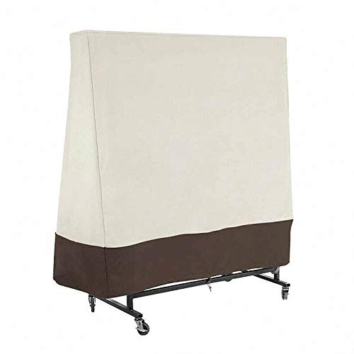lINOC Table Tennis Table Cover Waterproof Ping Pong Table Cover Outdoor/Indoor Windproof Anti-UV Sunproof Beige and Coffee 160×36×160cm
