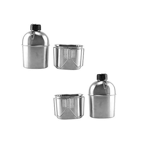 Tubayia - Juego de 2 botellas de agua de 1 l de acero inoxidable con vaso de acero inoxidable para camping, senderismo, picnic