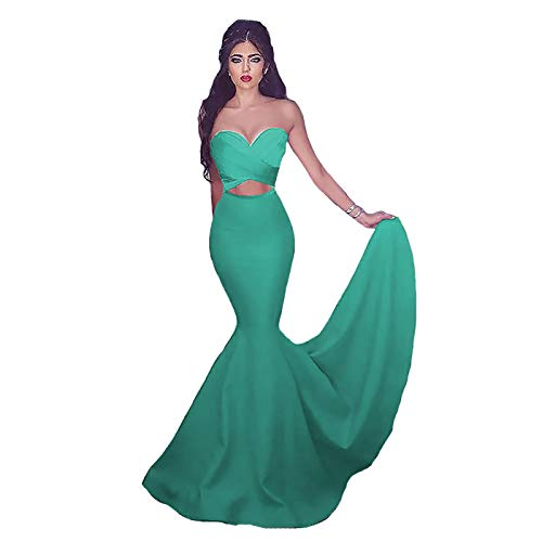 IVYPRECIOUS Women's Mermaid Sweetheart Prom Dresses Sleeveless Sweep Brush Train Satin Dress Size 16W US Tiffany Blue