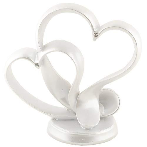 Hochzeit Deko Herz Modern Tortenaufsatz Tortenfigur Herzaufsatz Tischdeko Tortendeko Herzdeko (Perlmutt)