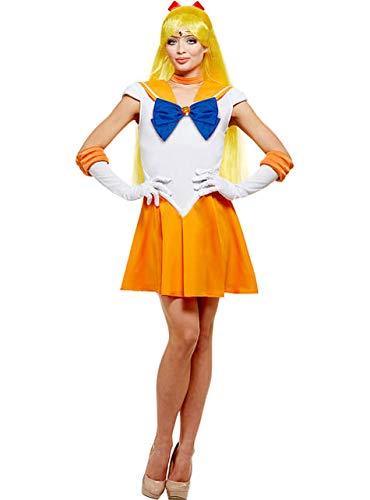 Funidelia | Costume Sailor Moon - Venus Ufficiale per Donna Taglia L ▶ Anime, Cosplay, Usagi Tsukino, Cartoni Animati - Arancione