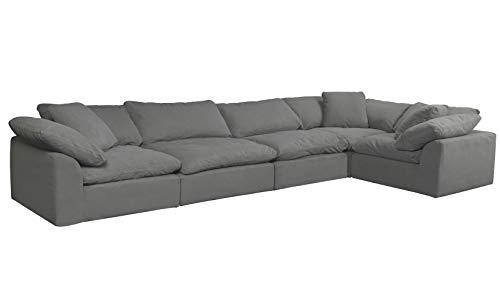 Sunset Trading Cloud Puff 5 Piece Modular Performance Gray Sectional Slipcovered Sofa, Grey