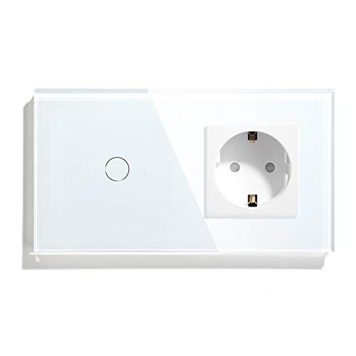BSEED Interruptor con Enchufe,1 Gang 1 Vía interruptor tactil +16A 250V enchufe pared,Interruptor Táctil de Luz pared con panel de vidrio templado,Schuko Enchufe Blanco