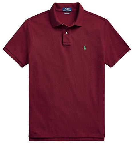 Polo Ralph Lauren Classic Fit Mesh Pony Logo Polo Shirt (L, WineGreenPony)