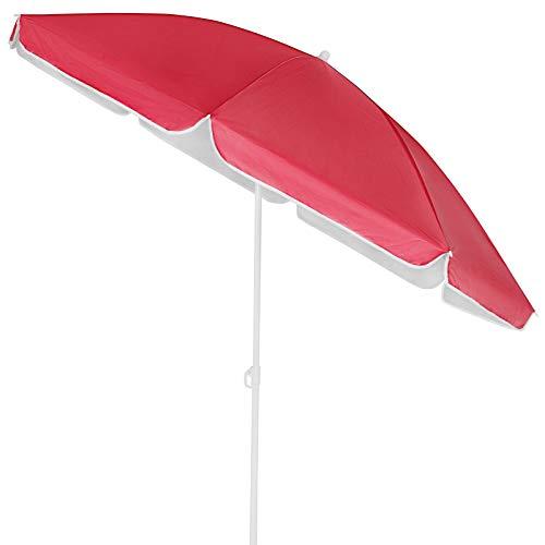Kingsleeve Sonnenschirm 180 cm UV Schutz 50+ Neigbar Wasserabweisend Balkonschirm Gartenschirm Strand Balkon rot leicht