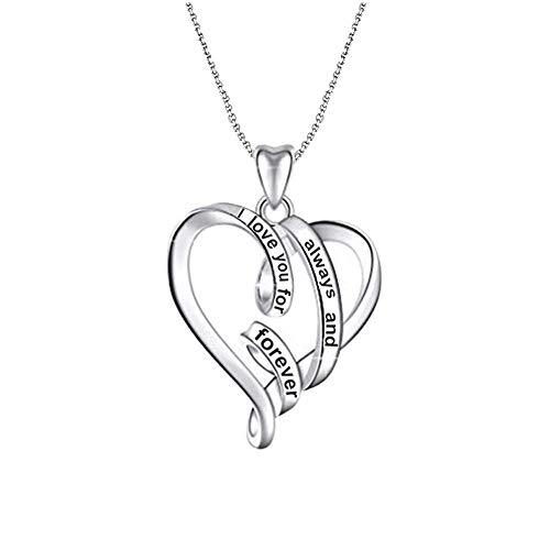 LeCalla Sterling zilveren sieraden I-Love-You Altijd en voor altijd hart hanger ketting met ketting voor vrouwen