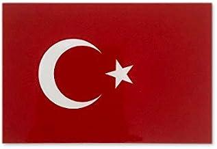 トルコ 国旗 ステッカー ( 屋内 ・ 屋外 用 防水 シール ) (M 約90mmx60mm)