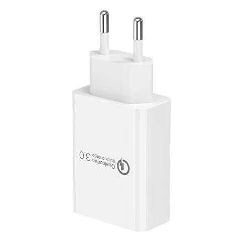BERLS Cargador Móvil 3.0 Carga Rápida (5V/2A) para Apple, i Phone 12 12Pro MAX 8P 6s, i Pad, Samsung S10 S9 A5,Adaptador USB Enchufe Xiaomi miA1 A2 mi9,Huawei P10 P20 Mate20,Tipo C Cables USB