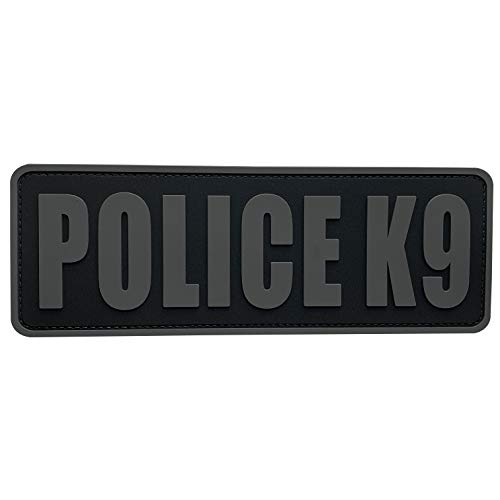 uuKen Police K9 Patch Grey Gray K-9 Tactical 8.5x3 inch PVC Patch for Tac Vest Tactical Uniforms Plate Carrier Bags (Black and Gray, L8.5'x3')