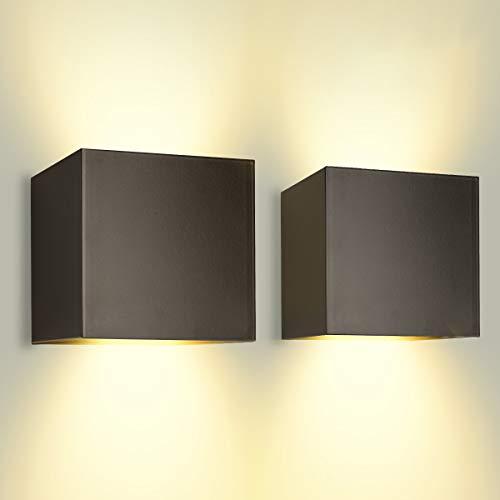 LED Wandleuchte Außenwandleuchte 12W Wandlampe mit Einstellbarem Abstrahlwinkel, Warmweiß 3000K Aluminium Wandbeleuchtung IP65 Wasserdicht (2 Stücke)