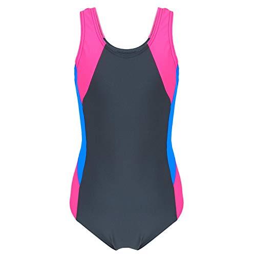 Aquarti Mädchen Badeanzug mit Ringerrücken, Farbe: Graphit/Blau/Pink, Größe: 122