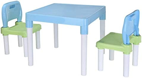 Kids Plastic Table and 2 Chairs Set Kptoaz Children Activity Desk Chair Set Toddler Table Chair product image