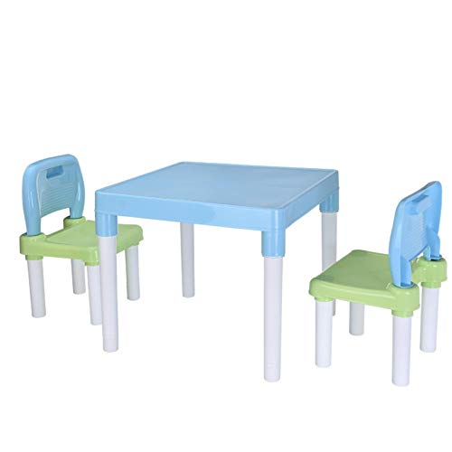 Kids Plastic Table and 2 Chairs Set, Kptoaz Children Activity Desk Chair Set Toddler Table & Chair Set Learning Studying Desk Children Art Table Set for Home Kindergarten (Blue, one Size)
