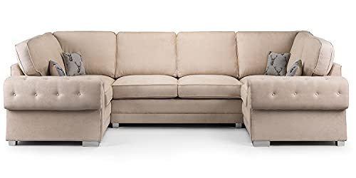 Honeypot - Sofa – Verona – Fullback – Ecksofa – 3-Sitzer – 2-Sitzer – Fußhocker (beige, U-Form-Ecke).