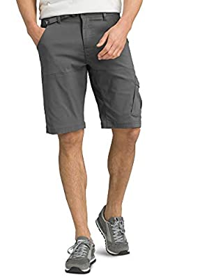 "prAna - Men's Stretch Zion Lightweight, Water-Repellent Shorts for Hiking and Everyday Wear, 10"" Inseam, Charcoal, 36"