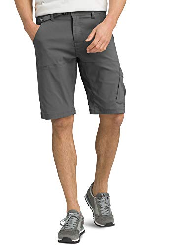 prAna - Men's Stretch Zion Lightweight, Water-Repellent Shorts for Hiking and Everyday Wear, 12' Inseam, Charcoal, 34