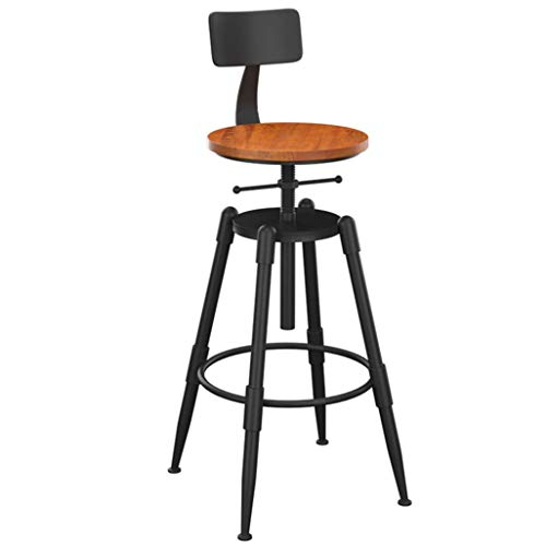 Barkrukken met rugleuning, ijzeren frame, verstelbaar draaibaar, voor ontbijtbar, balie, keuken en barkrukken, Retro design