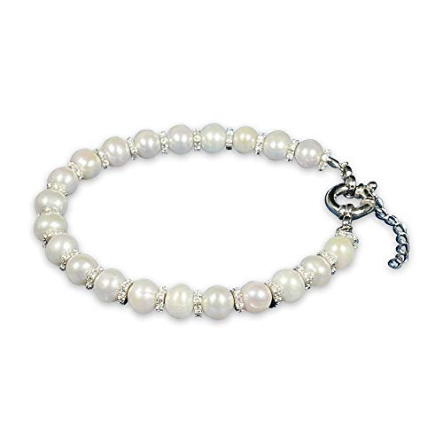 Chissa Gifts for Valentines Day Freshwater Pearl 925 Sterling Silver Adjustable Bracelet with 3A Cubic Zirconia Stones Rhodium Finish Stamped