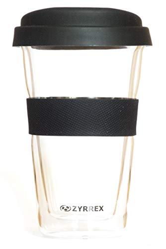 Zyrrex doppelwandiger wiederverwendbarer Kaffeebecher aus Glas für Unterwegs zum Mitnehmen mit Silikondeckel, Schwarz
