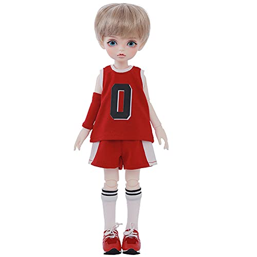 ZDD 1/6 Cute Boy BJD Dolls 28.5cm Mini SD Doll Ball Jointed Doll, Having Different Movable Joints, Basketball Clothing Suit and Full Set Makeup(Iris)