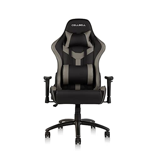 CELLBELL® GC04 Transformer Series Gaming/Racing Style Ergonomic High Back Chair with Removable Neck Rest and Adjustable Back Cushion [Grey-Black]