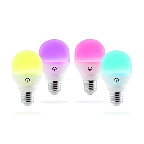 LIFX Mini (E27) Ampoule smart LED connectable Wi-Fi, ajustable, multicolore, ajustable, pas de hub requis, fonctionne avec Alexa, Apple HomeKit et Google Assistant, Set de 4 [Classe énergétique A+]