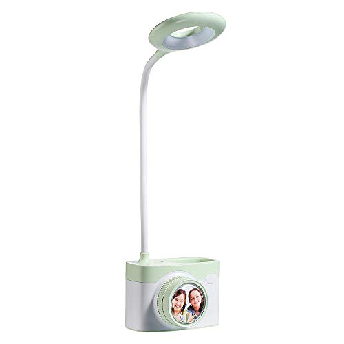 Lámpara de mesa con cámara LED con portalápices puerto de expansión USB carga lámpara de escritorio con atenuación sin electrodos dormitorio junto a la cama noche verde claro