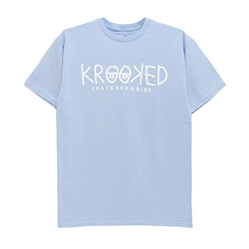 KROOKED T-SHIRT クルキッド Tシャツ EYES POWDER スケートボード スケボー SKATEBOARD 水色/白,L