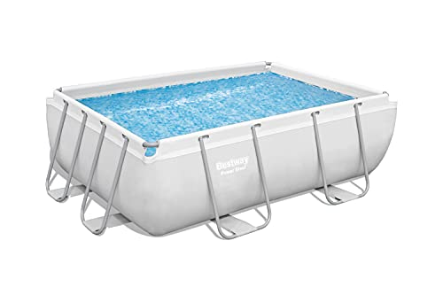 "Bestway 1056631USX21 Power Steel Above Ground Swimming Pool, 9'3"" x 6'5"" x 33"", White"