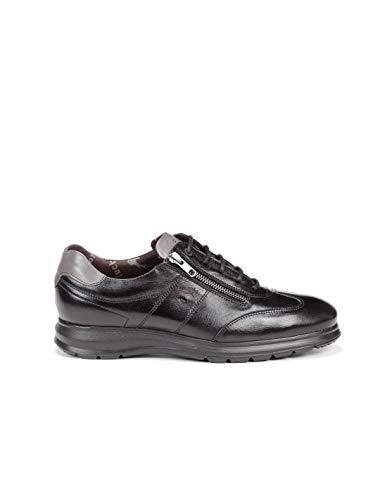 Fluchos   Zapato de Hombre   Zeta F0606 Soft Negro Zapato   Zapato de Piel de Vacuno de Primera Calidad   Cierre con Cremallera   Piso Ligero de Goma EVA dotado de la tecnología Shock Absorber