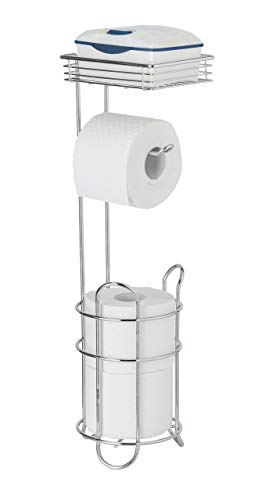 WENKO WC-Toilettenpapier- Halter stehend mit Ablage und Ersatzrollenhalter, Chrom