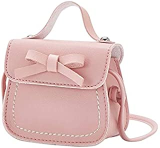 Fashion Single-Shoulder Bags Cute PU Kids Bag Coin Pouch Baby Wallet Shoulder Bag(Black) (Color : Pink)
