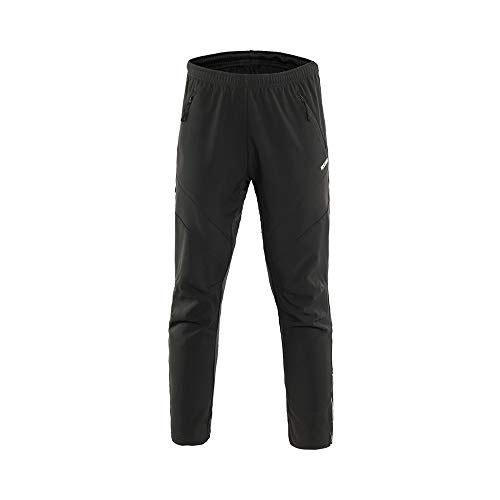 ARSUXEO Men's Winter Warm Up Thermal Fleece Running Bike Cycling Pants Multi Sports Windproof 18Z Black Size X-Large