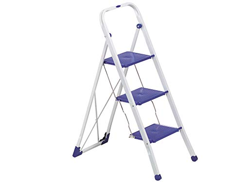 Gimi Tiko Steel 3 Step Foldable Ladder – in Blue, Grey or White
