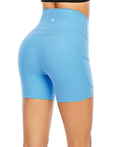 FAFAIR - Pantalones cortos deportivos para mujer con bolsillos de talle alto para entrenamiento de yoga y control de barriga, Azul (Sky Blue), M