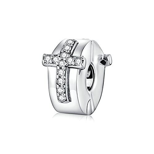 LIJIAN DIY 925 Sterling Jewelry Charm Beads Bible Cross Clip European Make Original Pandora Collares Pulseras Y Tobilleras Regalos para Mujeres